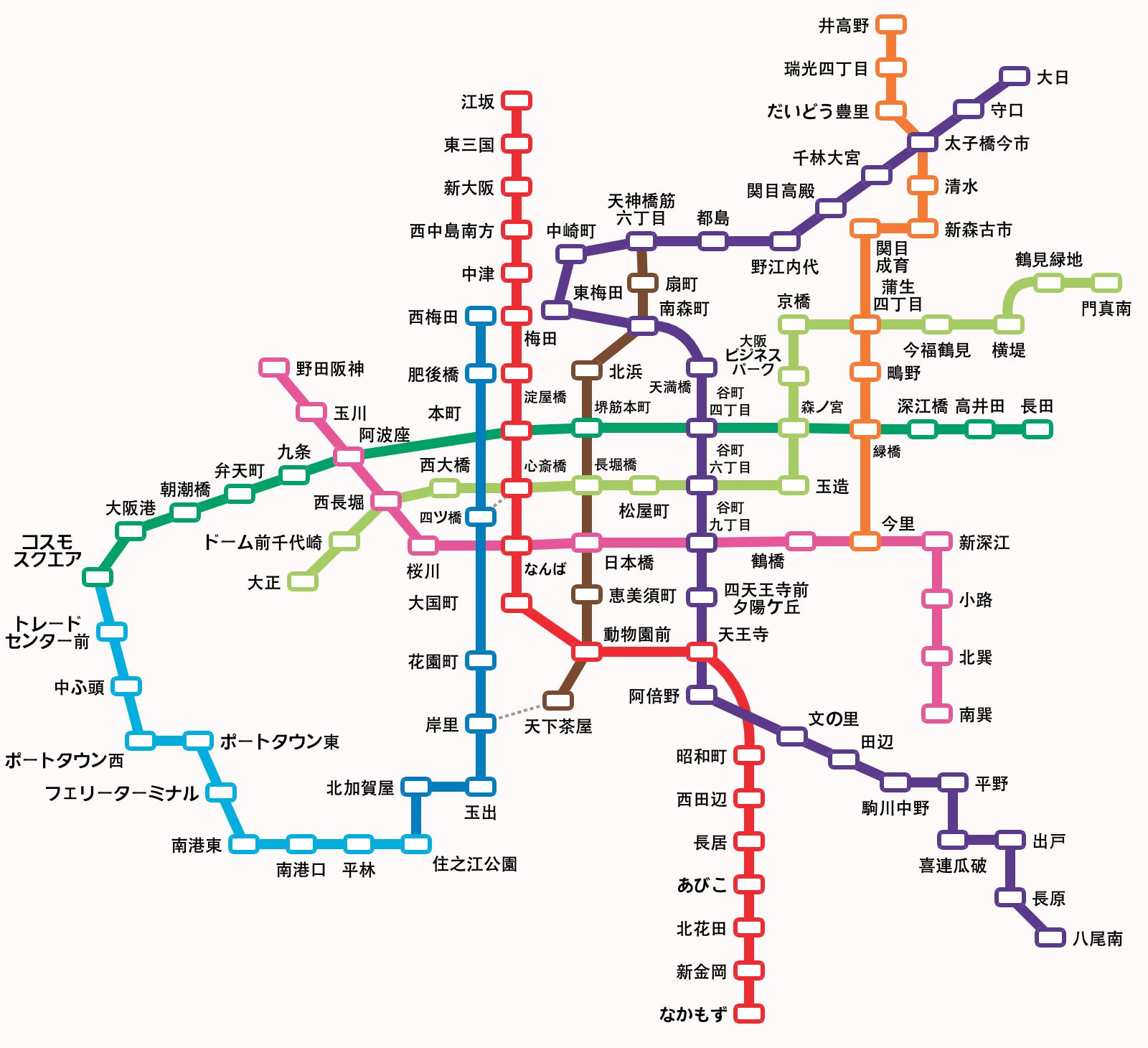 路線 大阪 図 メトロ